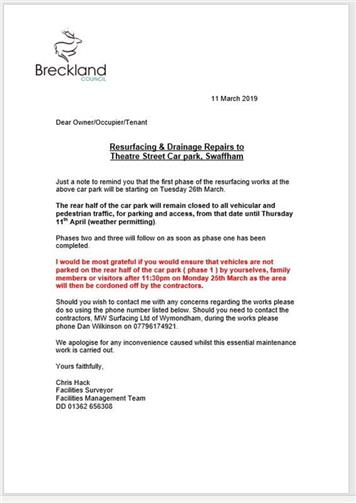 - Theatre Street car park resurfacing